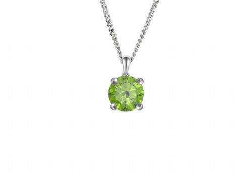 Round Peridot White Gold Necklace
